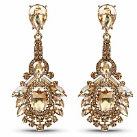Designer Gold Plated Dangle Earrings for Women Embedded with
