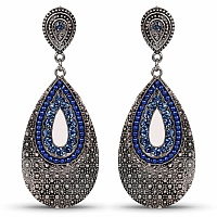 Fusion Style Oxidised Dangle Drop Earrings Studded with Blue
