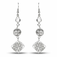 Silver Tone Trendy Floral Style Dangle Earrings Embedded wit