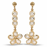 Gold Plated Floral Shape Fashion Dangle Earrings Embedded wi