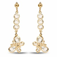 Gold Plated Butterfly Dangle Earrings for Women Embedded wit
