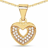 Gold Plated Heart Shape Designer Pendant Embedded with White