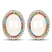 White Synthetic Pearl & Multicolor Stone Gold Plated Oval Sh