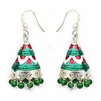 4.89 Grams Green Glass Brass Red, Green & White Enamel Earri