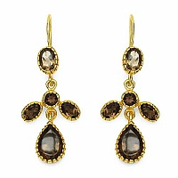 6.96CTW Genuine Smoky Topaz Gold Plated .925 Sterling Silver