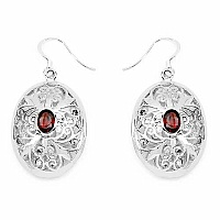 1.82CTW Genuine Garnet .925 Sterling Silver Earrings