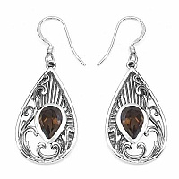 2.50CTW Genuine Smoky Topaz .925 Sterling Silver Earrings