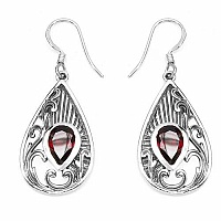 2.60CTW Genuine Garnet .925 Sterling Silver Earrings