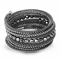 Contemporary Oxidised Black Colour Adjustable Wrap Bracelet