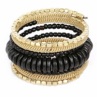 Contemporary Gold Plated Black Colour Beads Adjustable Wrap