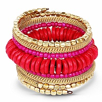 Contemporary Gold Plated Multi Colour Beads Adjustable Wrap
