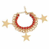 Chunky Red Colour Stone Star Shape Bracelet For Women