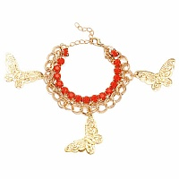 Chunky Red Colour Stone Butterfly Shape Bracelet For Women