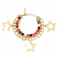 Chunky Multi Colour Stone Star Shape Bracelet For Women