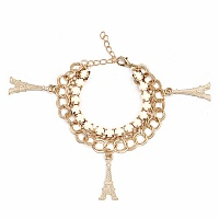 Chunky White Colour Stone Eiffel Tower Shape Bracelet For Wo