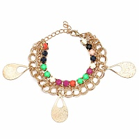 Chunky Multi Colour Stone Drop Shape Bracelet For Women