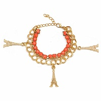 Chunky Orange Colour Stone Eiffel Tower Shape Bracelet For W