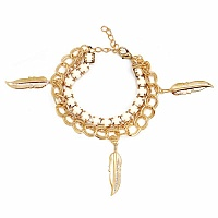 Chunky White Colour Stone Leaf Shape Bracelet For Women
