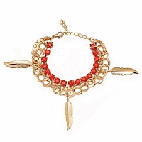 Chunky Red Colour Stone Leaf Shape Bracelet For Women