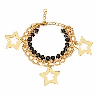 Chunky Black Colour Stone Star Shape Bracelet For Women