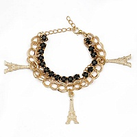 Chunky Black Colour Stone Eiffel Tower Shape Bracelet For Wo