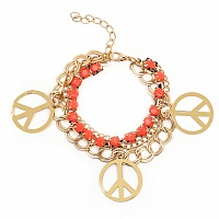 Chunky Orange Colour Stone Peace Sign Shape Bracelet For Wom