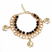 Chunky Black Stone Anchor Shape Bracelet For Women