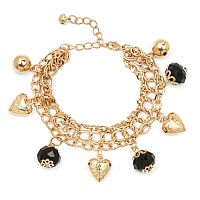 Chunky Black Color Stone Heart Shape Bracelet For Women