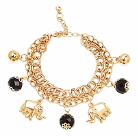 Chunky Black Color Stone Elephant Shape Bracelet For Women