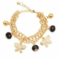 Chunky Black Color Stone Butterfly Shape Bracelet For Women