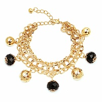 Chunky Black Color Stone Floral Shape Bracelet For Women