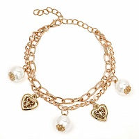 Chunky White Pearl Stone Heart Shape Bracelet For Women