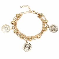 Chunky Floral Coin Shape Bracelet For Women