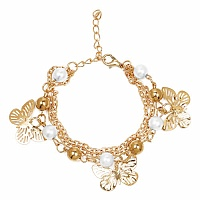 Chunky White Pearl Stone Butterfly Shape Bracelet For Women