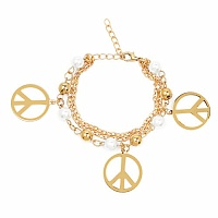Chunky White Pearl Stone Peace Sign Shape Bracelet For Women