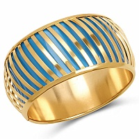 Sky Blue And Gold Toned Incredible Bangle For Women