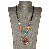 Oxidized Gold Plated Tribal Style Multicolor Fashion Necklac