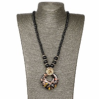 Gold Plated Tribal Style Black Fashion Necklace For Women