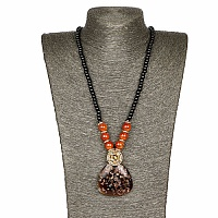Gold Plated Tribal Style Orange Fashion Necklace For Women