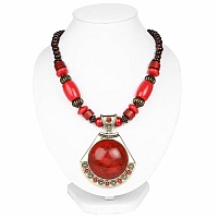 Oxidized Gold Plated Tribal Style Red Beaded Fashion Necklace f