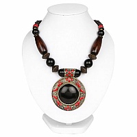 Oxidized Gold Plated Tribal Style Black Marble Fashion Necklace