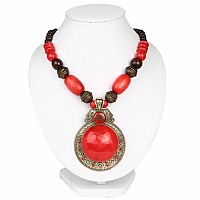 Oxidized Gold Plated Tribal Style Red Fashion Necklace for Wome