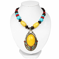 Oxidized Gold Plated Tribal Style Yellow Beaded Fashion Necklac