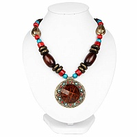 Oxidized Gold Plated Tribal Style Brown Beaded Fashion Necklace