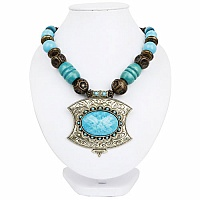 Oxidized Gold Plated Tribal Style Brown Beaded Fashion Neckl