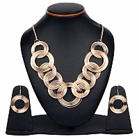 25.50 Inches Long Plain Metal Gold Plated Necklace Set