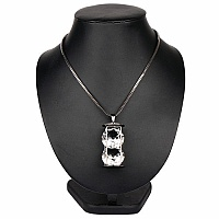 27.50 Inches Long White Glass Black Plating Pendant