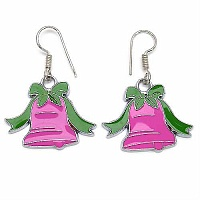 6.80 Grams Pink & Green Enamel Christmas Bell Shape Earrings