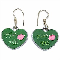 6.00 Grams Green & Pink Enamel Heart Shape Earrings