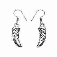 GLEAM TOUCH 3.29 Grams Oxidised Metal Alloy Tusk Shape Earrings
